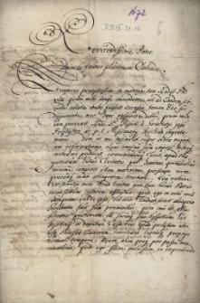Odpowiedź regenta Komory Cieszyńskiej Abrahama von Ecken z 26.08.1672 na skargę P. Jana Pisska, superiora cieszyńskiej rezydencji jezuitów, że w dobrach kameralnych i wśród personelu Komory Cieszyńskiej toleruje protestantów