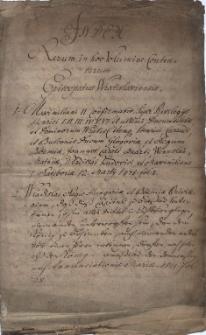 Index Rerum in hoc Volumine Contentarum Episcopatus Wratislawienis