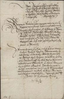 Pismo księcia cieszyńskiego Adama Wacława do Jerzego Borka z Rostropic na Wędryni, sędziego ziemskiego z żądaniem, aby zwrócił miastu wstrzymane w 1595 r., a należne, opłaty na rzecz szpitala na kwotę 128 talarów - 18.02.1614 r.