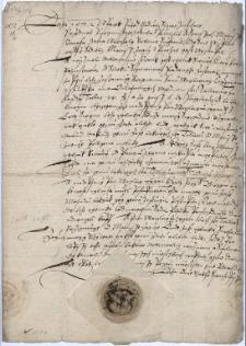 Potwierdzenie przez magistrat miasta Strumienia aktu zastawienia stawu przez Mateusza Zająca panu Wacławowi Cyganowi ze Słupska za 100 talarów - 17.04.1572 r.