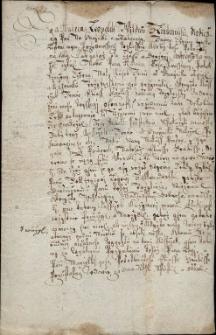 Dokument podpisany przez Andrzeja Leopolda Wildau z Lindenwiese na Gnojniku i Rakowcu z 30.03.1685 r., w którym tenże oświadcza, że kawałek ziemi nad potokiem zw. Czerna, który wcześniej bez jego wiedzy użytkował poddany z Trzycieża Eliasz Hänkiss, puszcza w użytkowanie wdowie po nim i ich potomkom