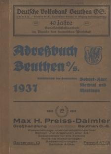 Adreßbuch Beuthen O.-S. Einschliesslich der Gemeinden Bobrek-Karf, Mechtal und Martinau. 1937