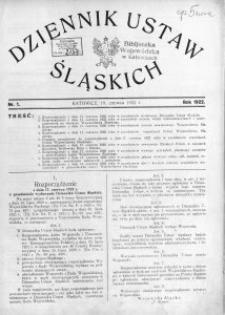 Dziennik Ustaw Śląskich, 19.06.1922, nr 1