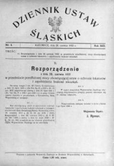 Dziennik Ustaw Śląskich, 28.06.1922, nr 3