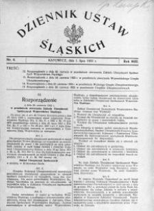 Dziennik Ustaw Śląskich, 01.07.1922, nr 4
