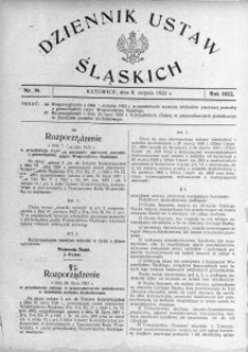 Dziennik Ustaw Śląskich, 08.08.1922, nr 14