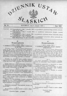 Dziennik Ustaw Śląskich, 09.08.1922, nr 15