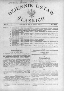 Dziennik Ustaw Śląskich, 21.08.1922, nr 17