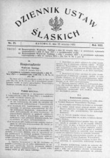 Dziennik Ustaw Śląskich, 22.09.1922, nr 23