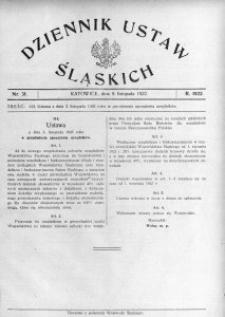 Dziennik Ustaw Śląskich, 09.11.1922, nr 31