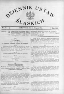 Dziennik Ustaw Śląskich, 13.11.1922, nr 32