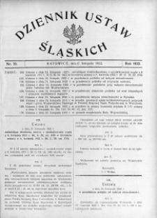 Dziennik Ustaw Śląskich, 27.11.1922, nr 35