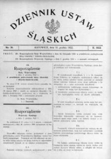 Dziennik Ustaw Śląskich, 14.12.1922, nr 36