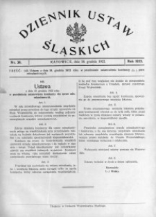 Dziennik Ustaw Śląskich, 30.12.1922, nr 39