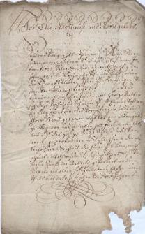 Reskrypt regenta Komory Cieszyńskiej Franciszka Antoniego von Gößingera do magistratu w Cieszynie z 21.03.1722 r. ze skargą na cech kowali w Cieszynie, który nie wykonuje na rzecz Komory prac, do których jest zobowiązany