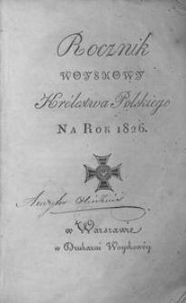 Rocznik Woyskowy Królestwa Polskiego. Na rok 1826