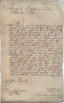 Pismo Jana Jerzego Antoniego Kaymera, radcy miasta Cieszyna (członka magistratu) z 24.10.1743 r. do nienazwanego szlachcica (tytułowanego rycerzem) w sprawie wysłania posłańca do Pragi w najbliższy wtorek (tj. 29.10.), w czym zainteresowane są także inne działające w Cieszynie instytucje (Generalny urząd podatkowy, Komora Cieszyńska)