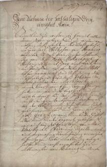 Umowa ślubna zawarta 6.02.1744 r. pomiędzy Carlem Wilhelmem von Henning, oficerem pruskiego pułku huzarów Małachowskiego a Joanną Zuzanną Karoliną Marklowską, zatwierdzona 23.03.1744 r.