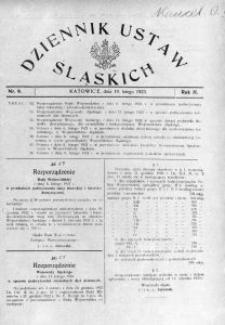 Dziennik Ustaw Śląskich, 19.02.1923, R. 2, nr 9