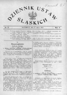 Dziennik Ustaw Śląskich, 27.03.1923, R. 2, nr 15