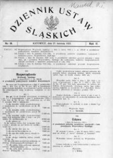 Dziennik Ustaw Śląskich, 27.04.1923, R. 2, nr 18
