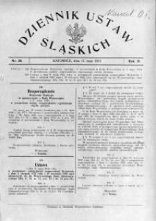 Dziennik Ustaw Śląskich, 17.05.1923, R. 2, nr 20