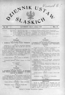 Dziennik Ustaw Śląskich, 05.06.1923, R. 2, nr 22