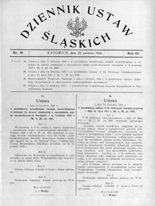 Dziennik Ustaw Śląskich, 29.04.1924, R. 3, nr 10