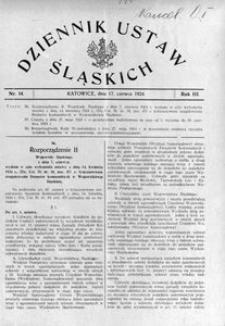 Dziennik Ustaw Śląskich, 17.06.1924, R. 3, nr 14