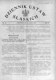 Dziennik Ustaw Śląskich, 24.06.1924, R. 3, nr 15