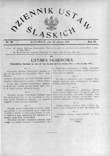 Dziennik Ustaw Śląskich, 28.08.1924, R. 3, nr 20