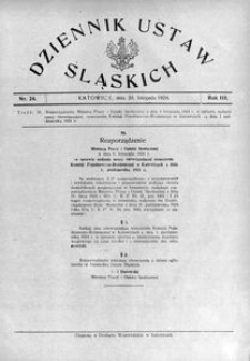Dziennik Ustaw Śląskich, 20.11.1924, R. 3, nr 24