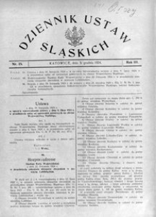 Dziennik Ustaw Śląskich, 03.12.1924, R. 3, nr 25