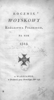 Rocznik Woyskowy Królestwa Polskiego. Na rok 1818