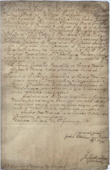 Pismo Justusa Wilhelma hr. Prażmy z Bilkowa z 8.01.1781 r. do Antoniego Alojzego Löhna, proboszcza i dziekana cieszyńskiego popierające go w sprawie sporu z zakonem dominikanów