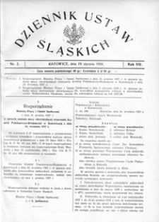 Dziennik Ustaw Śląskich, 19.01.1928, R. 7, nr 2