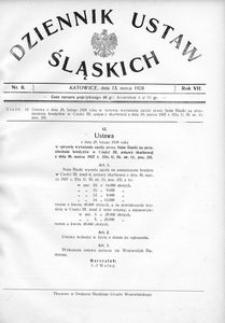 Dziennik Ustaw Śląskich, 13.03.1928, R. 7, nr 6