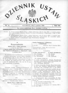 Dziennik Ustaw Śląskich, 02.06.1928, R. 7, nr 14