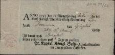 Pokwitowanie z 14.02.1757 r. wystawione przez c.k. Administrację Solną na Śląsku [Austriackim], że dominium w Dzięgielowie zakupiło w składzie soli w Cieszynie 285 funtów soli z Marmarosz