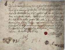 Oświadczenie A[dama] Borka z 28.02.1681 r., że w okresie od 1.10. do 31.12.1680 r. w swoich dobrach Wędrynia i Grodziszcze wyszynkował nie więcej niż 35 kwart wódki, od czego zapłacił należną akcyzę