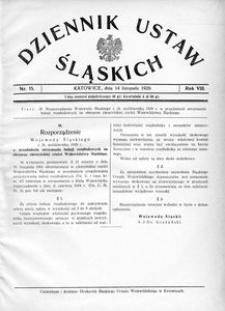 Dziennik Ustaw Śląskich, 14.11.1929, R. 8, nr 15