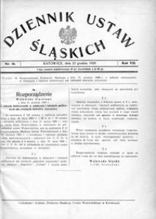 Dziennik Ustaw Śląskich, 23.12.1929, R. 8, nr 16