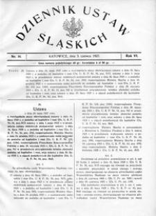 Dziennik Ustaw Śląskich, 03.06.1927, R. 6, nr 14