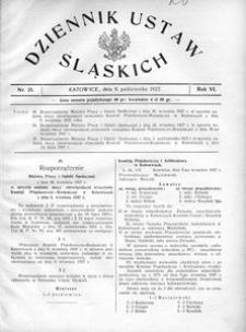 Dziennik Ustaw Śląskich, 08.10.1927, R. 6, nr 21