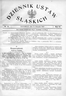 Dziennik Ustaw Śląskich, 17.11.1927, R. 6, nr 23