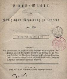 Amts-Blatt der Königlichen Regierung zu Oppeln pro 1838, 23 Bd.