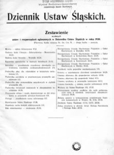 Zestawienie wydanych ustaw i rozporządzeń ogłoszonych w Dz. Ust. Śl. w r. 1930