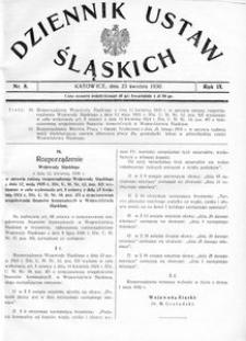 Dziennik Ustaw Śląskich, 23.04.1930, R. 9, nr 8