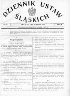 Dziennik Ustaw Śląskich, 30.04.1930, R. 9, nr 9