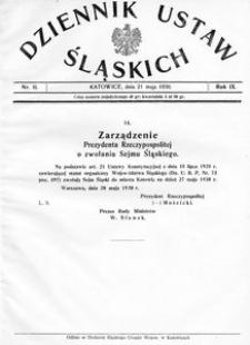 Dziennik Ustaw Śląskich, 21.05.1930, R. 9, nr 11